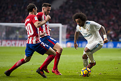 November 18, 2017 - Madrid, Madrid, Spain - Marcelo, Saul Ã'iguez, Juanfran during the match between Atletico de Madrid and Real Madrid, week 12 of La Liga at Wanda Metropolitano stadium, Madrid, SPAIN - 18th November of 2017. (Credit Image: © Jose Breton/NurPhoto via ZUMA Press)