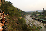The E&O Express snakes its way along the River Kwae, Kanchanaburi, Thailand