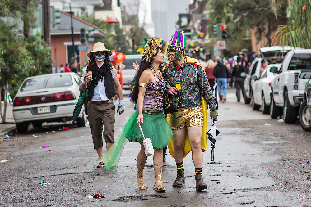 Couple on Mardi Gras Day in the Faubourg Marigny.