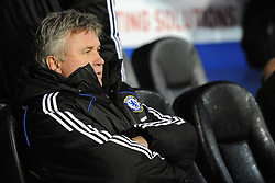 Guus Hiddink (Chelsea Manager) looks on before the kick off of the Barclays Premier League match between Portsmouth and Chelsea at Fratton Park on March 3, 2009 in Portsmouth, England.