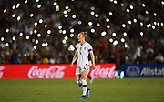 United States defender Becky Sauerbrunn (4) kicks the ball in an international friendly women's soccer match, Saturday, Aug. 3, 2019,  in Pasadena, Calif., The U.S. defeated Ireland 3-0. (Dylan Stewart/Image of Sport)