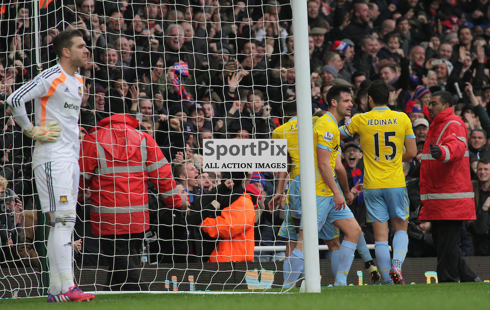 West Ham United Goalkeeper Adrian looks dejected as Crystal palace celebrate During the game between West Ham United and Crystal Palace on saturday 28th  February 2015