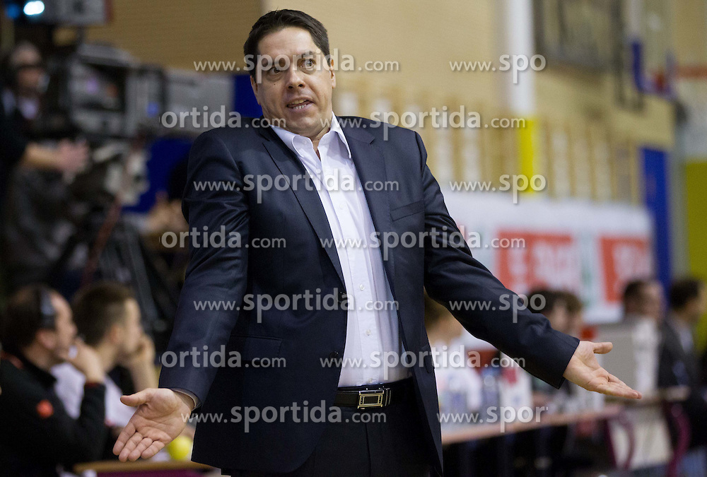 Saso Filipovski, head coach of Olimpija during basketball match between KK Union Olimpija Ljubljana and KK Krka Novo mesto of finals of 11th Slovenian Spar Cup 2012, on February 19, 2012 in Sports hall Brezice,  Brezice, Slovenia. (Photo By Vid Ponikvar / Sportida.com)