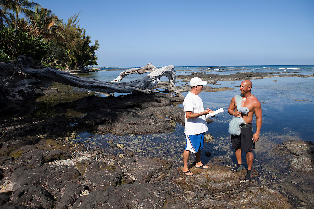 Fishing interview by James Heacock with fisherman Kawika Auld, Pakini Survey, Puako coastline, Lalamilo ahupuaa, South Kohala, Hawaii, Big Island, access 116