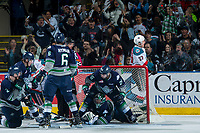 KELOWNA, CANADA - APRIL 30: Nolan Volcan #26 and Carl Stankowski #1 of the Seattle Thunderbirds defend the net against the Kelowna Rockets during second period on April 30, 2017 at Prospera Place in Kelowna, British Columbia, Canada.  (Photo by Marissa Baecker/Shoot the Breeze)  *** Local Caption ***