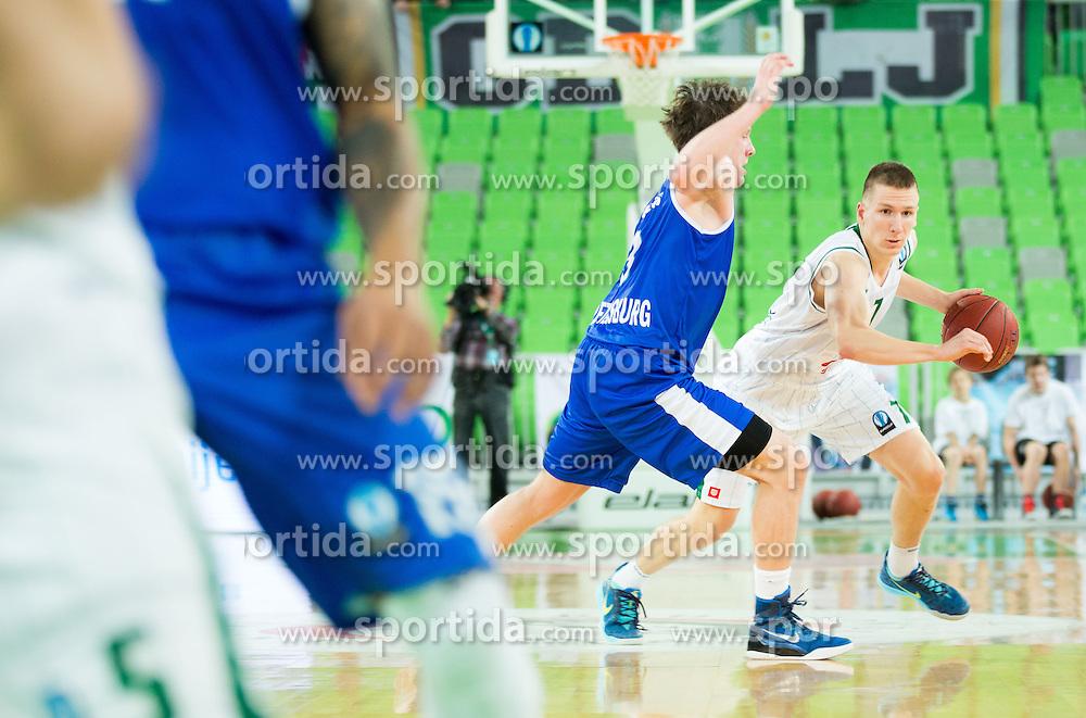 Dmitrii Kulagin of Zenit vs Gregor Hrovat #7 of KK Union Olimpija during basketball match between KK Union Olimpija (SLO) and Zenit St. Petersburg (RUS) in 4th Round of EuroCup 2014/15, on November 4, 2014 in Arena Stozice, Ljubljana, Slovenia. Photo by Vid Ponikvar / Sportida