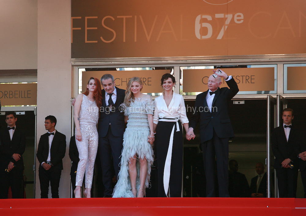 Kristen Stewart,  Olivier Assayas, Chloe Grace Moretz, Juliette Binoche and Gilles Jacob at Sils Maria gala screening red carpet at the 67th Cannes Film Festival France. Friday 23rd May 2014 in Cannes Film Festival, France.
