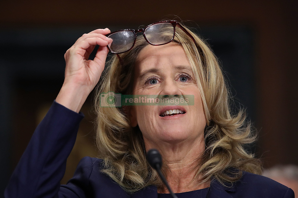 September 27, 2018 - Washington, DC, U.S. - CHRISTINE BLASEY FORD testifies before the Senate Judiciary Committee in the Dirksen Senate Office Building on Capitol Hill. A professor at Palo Alto University and a research psychologist at the Stanford University School of Medicine, Ford has accused Supreme Court nominee Judge Kavanaugh of sexually assaulting her during a party in 1982 when they were high school students in suburban Maryland.  (Credit Image: © Win Mcnamee/CNP via ZUMA Wire)