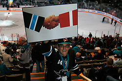 May 8, 2011; San Jose, CA, USA; A San Jose Sharks fan holds up a picture before game five of the western conference semifinals of the 2011 Stanley Cup playoffs against the Detroit Red Wings at HP Pavilion. Mandatory Credit: Jason O. Watson / US PRESSWIRE
