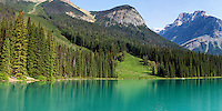Turqoise waters fill Emerald Lake in Yoho National Park, British Columbia