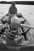 Sven-Åke ror eka på Toftan