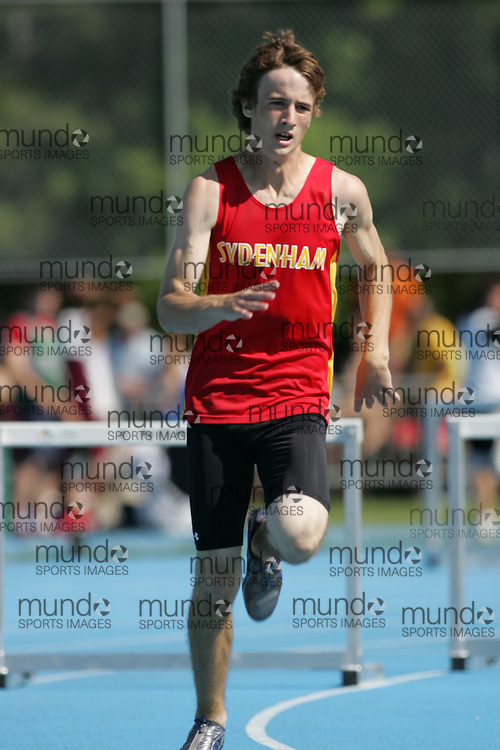 Matt Fouzie competing in the midget boys 300m hurdles heat at the 2007 OFSAA Ontario High School Track and Field Championships in Ottawa.