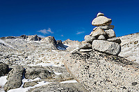 A trail marker / Cairn in the upper Enchantments, Enchantment Lakes Wilderness Area, Washington Cascades, USA.