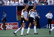 FIFA World Cup - USA 1994<br /> 10.7.1994, Giants Stadium, New York/New Jersey.<br /> World Cup Quarter Final, Bulgaria v Germany.<br /> Guido Buchwald & Jürgen Kohler - Germany