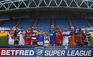 Betfred Super League Official Photograph (L-R) Jonny Lomax (St Helens), Joe Mellor (Widnes) Ben Gacia Betfred Super League Official Photograph (L-R) Jonny Lomax (St Helens), Joe Mellor (Widnes) Ben Gacia (Catalan), Shaun Lunt (Hull KR), Sean O'Loughlin (Wigan Warriors), Ryan Hall (Leeds Rhinos), Chris Hill (Warrington Wolves), Manu Vatuvei (Salford Red Devils), Tyler Randell (Wakefield) Luke Gale (Castleford Tigers), Jermaine Mc Gillvary (Huddersfield Giants), Danny Houghton (Hull FC)  during the media launch for the Betfred Super League 2018 season at the John Smiths Stadium, Huddersfield<br /> Picture by Stephen Gaunt/Focus Images Ltd +447904 833202<br /> 25/01/2018