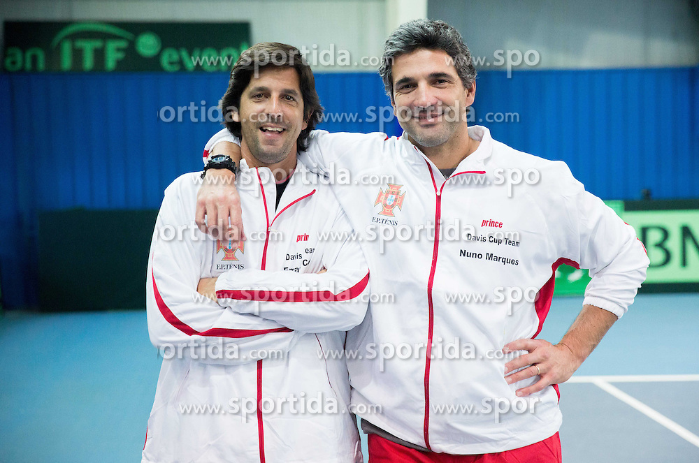 Emanuel Costa and Nuno Marques of Portugal after the 5th match of Davis cup Slovenia vs. Portugal on February 2, 2014 in Kranj, Slovenia. Photo by Vid Ponikvar / Sportida