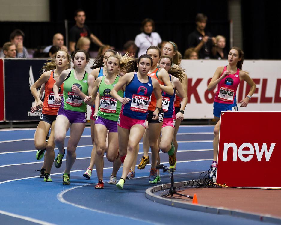 New Balance Indoor Grand Prix track meet: Junior GIrls Mile, Frazier leads pack