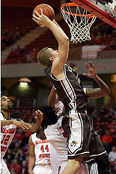 27 November 2015: Evan McGaughey takes a lay up. Illinois State Redbirds host the Quincy Hawks at Redbird Arena in Normal Illinois (Photo by Alan Look)