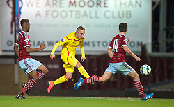 UPTON PARK, ENGLAND - Friday, September 12, 2014: Liverpool's Samed Yesil in action against West Ham United during the Under 21 FA Premier League match at Upton Park. (Pic by David Rawcliffe/Propaganda)