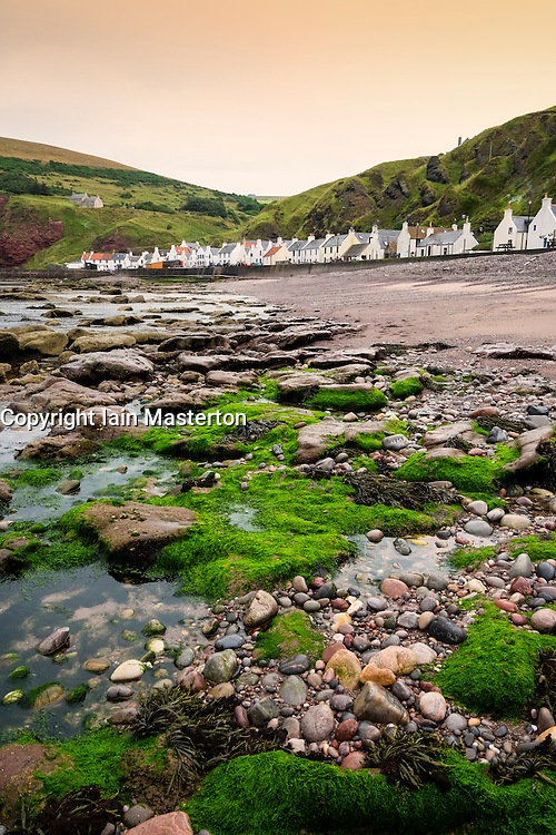 View of historic small fishing  village of Pennan on Aberdeenshire coast in Scotland