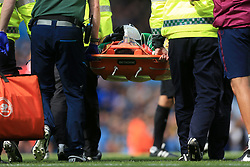 9th September 2017 - Premier League - Manchester City v Liverpool - Man City goalkeeper Ederson is carried off injured on a stretcher - Photo: Simon Stacpoole / Offside.