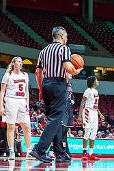 NORMAL, IL - November 20:  Referee Kalei Enterline works a free throw during a college women's basketball game between the ISU Redbirds and the Huskies of Northern Illinois November 20 2019 at Redbird Arena in Normal, IL. (Photo by Alan Look)