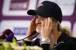 February 14, 2019 - Doha, QATAR - Elina Svitolina of the Ukraine talks to the media after winning her quarter-final match at the 2019 Qatar Total Open WTA Premier tennis tournament (Credit Image: © AFP7 via ZUMA Wire)