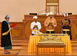 Myanmar's newly-elected president U Htin Kyaw (2nd R), military-assigned First Vice President U Myint Swe (2nd L) and second vice president of the National League for Democracy (NLD) U Henry Van Thio (R) take the oath at the Union Parliament in Nay Pyi Taw, Myanmar, March 30, 2016. EXPA Pictures © 2016, PhotoCredit: EXPA/ Photoshot/ MOI<br /> <br /> *****ATTENTION - for AUT, SLO, CRO, SRB, BIH, MAZ, SUI only*****