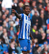 Brighton defender full back Gaetan Bong makes a point during the Sky Bet Championship match between Brighton and Hove Albion and Preston North End at the American Express Community Stadium, Brighton and Hove, England on 24 October 2015. Photo by Bennett Dean.