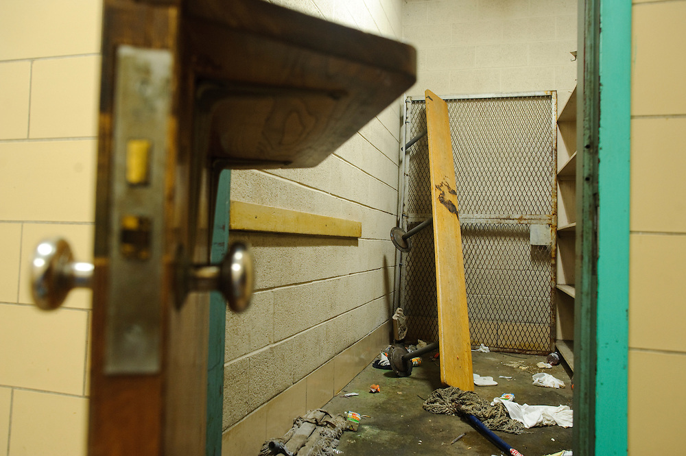 (photo by Matt Roth).Friday, May 14, 2010..The boy's locker room at the Baltimore Freedom Academy is in such dangerous disrepair, students are not allowed to use it. ..The building housing the Baltimore Freedom Academy, a grade 6-12 Baltimore public charter school focusing in social justice, was built in 1960. Fifty years later, the school is in disrepair. Old pipes make water from the fountains undrinkable. Asbestos makes repairing/replacing the pipes a hazard. The school has no air conditioning which makes the year-round school unbearable in the summer. The most derelict area is the boys locker room, where students are not allowed.