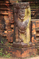 A corner statue in the ancient Hindu temple complex of My Son in central Vietnam