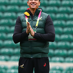 LONDON, ENGLAND - OCTOBER 16: Pieter Kruger during the South African national rugby team Captains Run and media conference at Twickenham Stadium on October 16, 2015 in London, England. (Photo by Steve Haag/Gallo Images)
