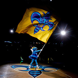 February 1, 2011; New Orleans, LA, USA; New Orleans Hornets mascot Hugo waves a team flag under a spot light during introduction prior to tip off of a game against the Washington Wizards at the New Orleans Arena.   Mandatory Credit: Derick E. Hingle