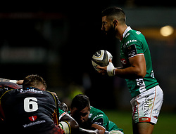 Benetton Treviso's Tito Tebaldi waits to put in at the scrum<br /> <br /> Photographer Simon King/Replay Images<br /> <br /> Guinness PRO14 Round 1 - Dragons v Benetton Treviso - Saturday 1st September 2018 - Rodney Parade - Newport<br /> <br /> World Copyright © Replay Images . All rights reserved. info@replayimages.co.uk - http://replayimages.co.uk