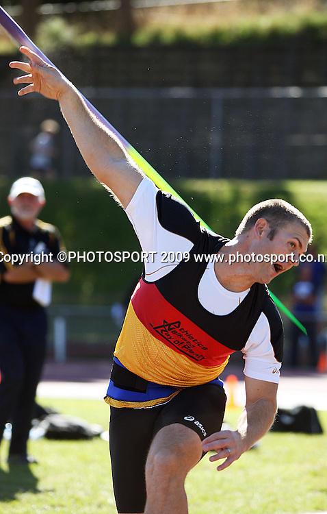 Waikato Bay of Plenty's Stuart Farquhar competes in the men's javelin.<br /> National athletics championships, Day Two at Newtown Park, Wellington. Friday, 27 March 2009. Photo: Dave Lintott/PHOTOSPORT