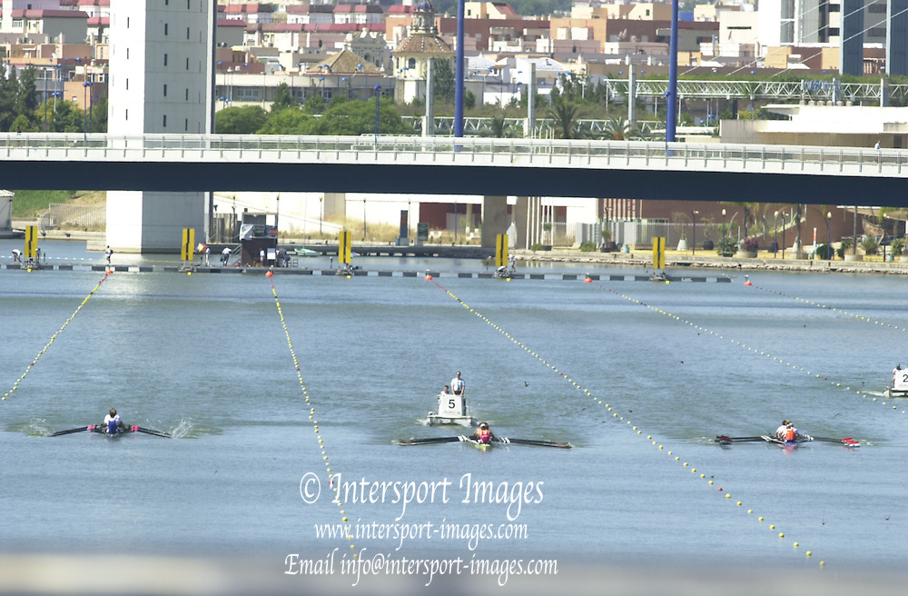 Peter Spurrier Sports  Photo.email pictures@rowingpics.com.Tel 44 (0) 7973 819 551.Tel/Fax 44 (0) 1784 440 772..Looking to the start from the road bridge. Men's 8+ rep in progress. Rowing Course: Rio Guadalquiver Rowing Course, Seville, SPAIN 20010515 FISA World Cup, Seville, SPAIN