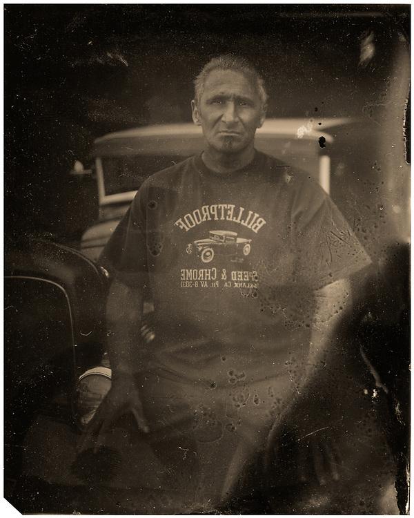 Tintype portrait of custom car builder Alex Gambino | Garage Magazine