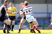 Bradford Bulls hooker Sam Hallas (29) tackles Rochdale Hornets loose forward Gary Middlehurst (13)  during the Kingstone Press Championship match between Rochdale Hornets and Bradford Bulls at Spotland, Rochdale, England on 18 June 2017. Photo by Simon Davies.