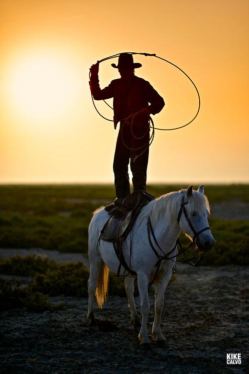 Gardian lassoing standing on a camargue horse.