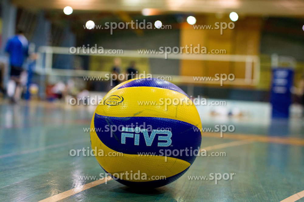 Ball during warmup before CEV cup 1/16 volleyball game between Calcit Kamnik and Aquacare Halen on October 19, 2011 at Sportna dvorana, Kamnik, Slovenia. (Photo By Matic Klansek Velej / Sportida)