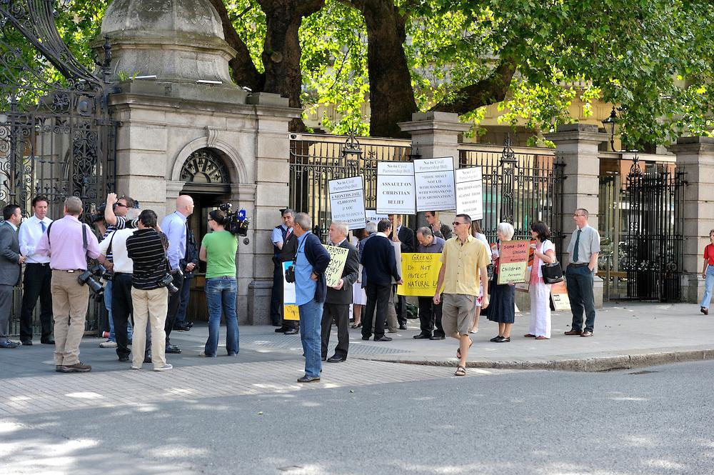Protest outside Dáil Éireann against same sex marriages