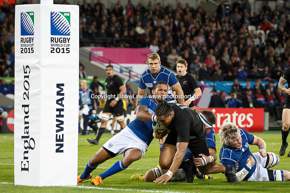 Julian Savea scoes a try during the New Zealand All Blacks v Namibia Rugby World Cup 2015 match. The Stadium Queen Elizabeth Park in London, UK. Thursday 24 Septebmer 2015. Copyright Photo: Libby Law / www.Photosport.nz