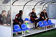 KALMAR, SWEDEN - APRIL 18: Team bench of Ostersunds FK during warmup ahead of the Allsvenskan match between Kalmar FF and Ostersunds FK at Guldfageln Arena on April 18, 2018 in Kalmar, Sweden. Photo by Jonas Gustafsson/Ombrello ***BETALBILD***
