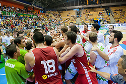 Players in fight  during friendly match between National teams of Slovenia and Turkey for Eurobasket 2013 on August 4, 2013 in Arena Zlatorog, Celje, Slovenia. (Photo by Vid Ponikvar / Sportida.com)