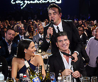 Simon Cowell with Ant and Dec  on stage at the 2015 BRIT Awards with Mastercard, held at the O2 Arena in London, Wednesday, 25 February, 2015. Photo by John Marshall/JM Enternational