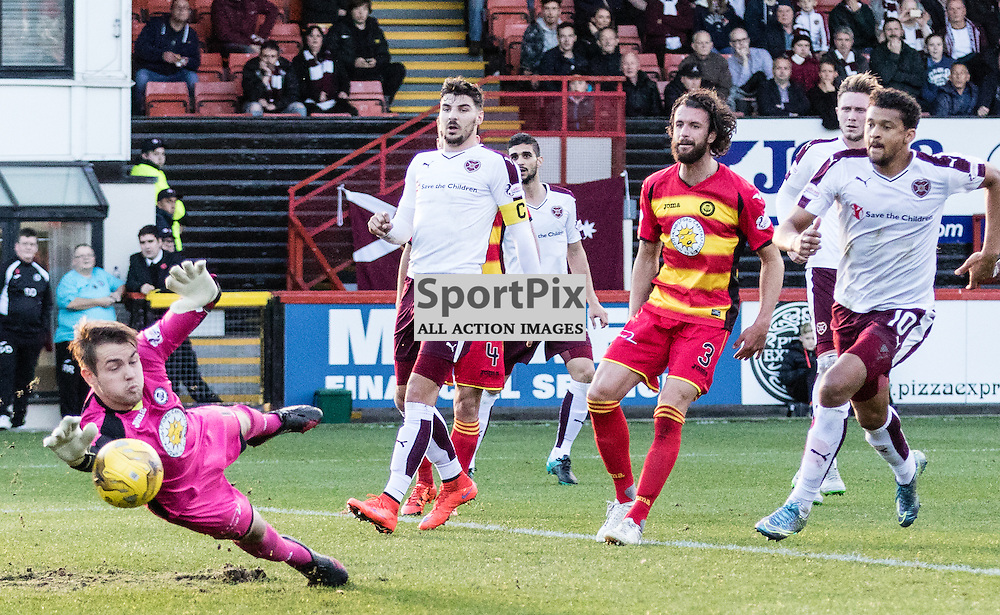 Partick Thistle's 'keeper Ryan Scully saves Heart of Midlothian's Osman Sow attempt on goal during the Partick Thistle FC V Heart of Midlothian FC Ladbrokes Scottish Premiership game played at Firhill Stadium, Glasgow on 31st October 2015; (c) BERNIE CLARK | SportPix.org.uk
