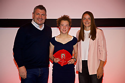 NEWPORT, WALES - Saturday, May 19, 2018: Mary McAteer is presented with her Under-16's cap by Osian Roberts (left) and Lauren Dykes (right) during the Football Association of Wales Under-16's Caps Presentation at the Celtic Manor Resort. (Pic by David Rawcliffe/Propaganda)