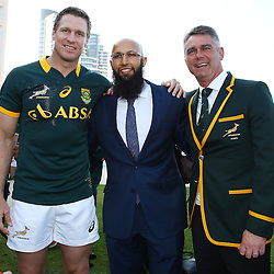 DURBAN, SOUTH AFRICA - AUGUST 07: Jean de Villiers with Hashim Amla and Heyneke Meyer (Head Coach) of South Africa during the Springbok team photo at the Beverly Hills Hotel on August 07, 2015 in Durban, South Africa. (Photo by Steve Haag/Gallo Images)