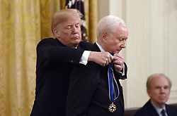 US President Donald Trump awards the Presidential Medal of Freedom to retiring Utah US Senator Orrin Hatch at the White House in Washington, DC, on November 16, 2018. - The Medal is the highest civilian award of the United States.Photo by Olivier Douliery/ABACAPRESS.COM