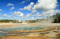 Beauty Pool is a hot spring in the Upper Geyser Basin of Yellowstone National Park. It has a depth of 25 feet and it's temperature ranges from 164-175°F.